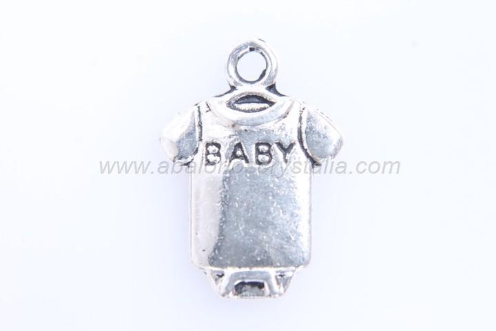 10 COLGANTES PETO BABY PLATA ANTIGUA 17x12mm
