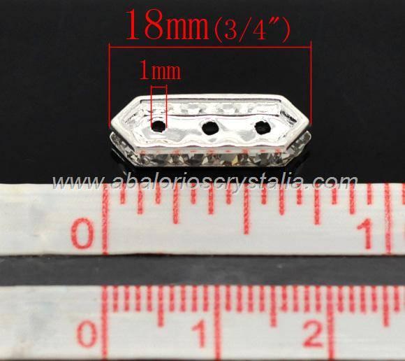 5 BARRAS ESPACIADORAS PLATEADAS 3 VIAS CRISTAL 20x6mm