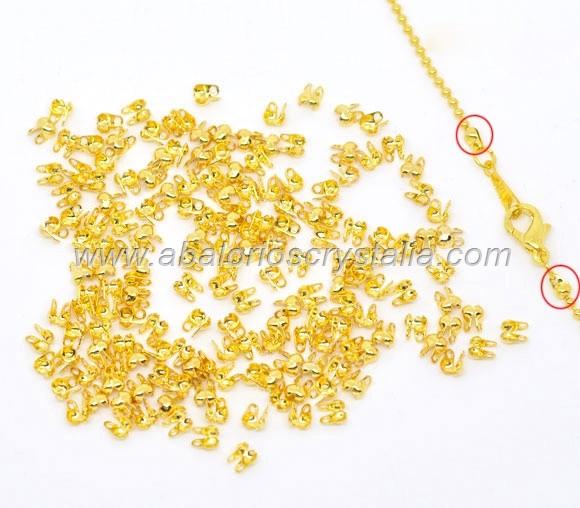 50 MINI TAPANUDOS DORADOS 4x2.5x2mm (apto cadena bolas 1.5mm)