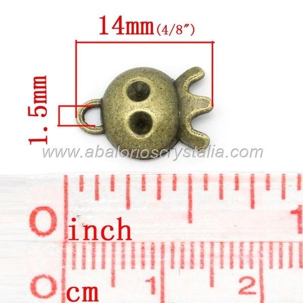 10 COLGANTES FANTASMITA BRONCE 14x10mm