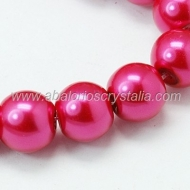 15 PERLAS DE CRISTAL COLOR FUCSIA 10mm