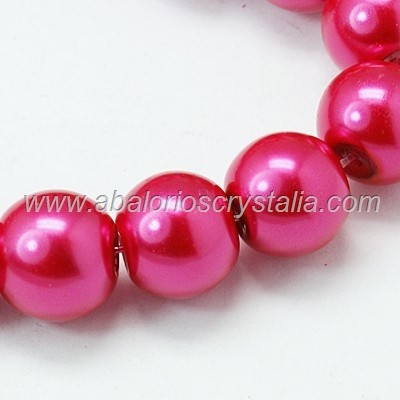 30 PERLAS DE CRISTAL COLOR FUCSIA 6mm