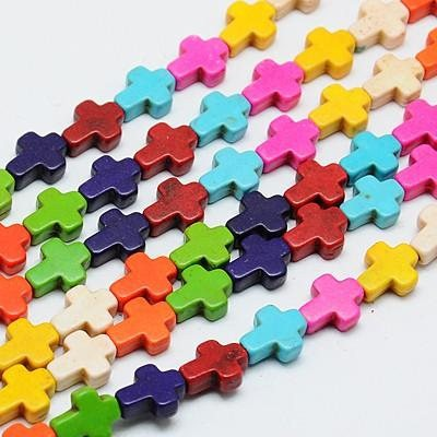 10 MINI CRUCES HOWLITA MIX DE COLORES 10x8x3mm