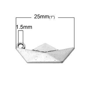 5 COLGANTES BARCO DE PAPEL PLATA ANTIGUA 25x10mm