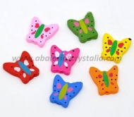 5 MARIPOSAS DE MADERA MIX DE COLORES 22x21mm ref: 297