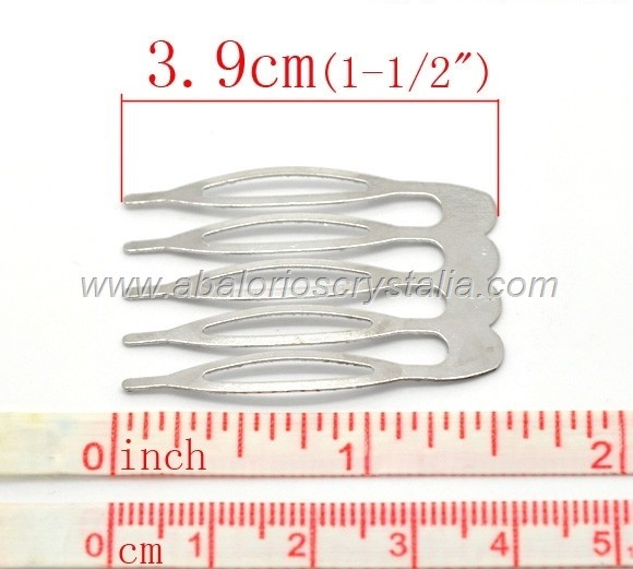 2 PEINETAS PLATEADAS 39x26 mm