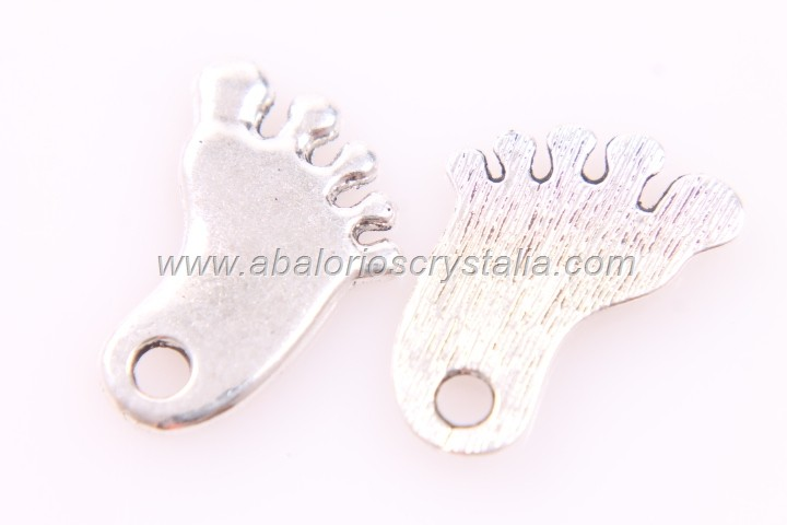5 COLGANTES PIES PLATA ANTIGUA 22x15mm