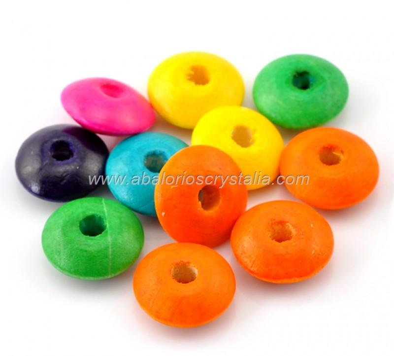 20 DONUTS DE MADERA 14x6mm MIX DE COLORES