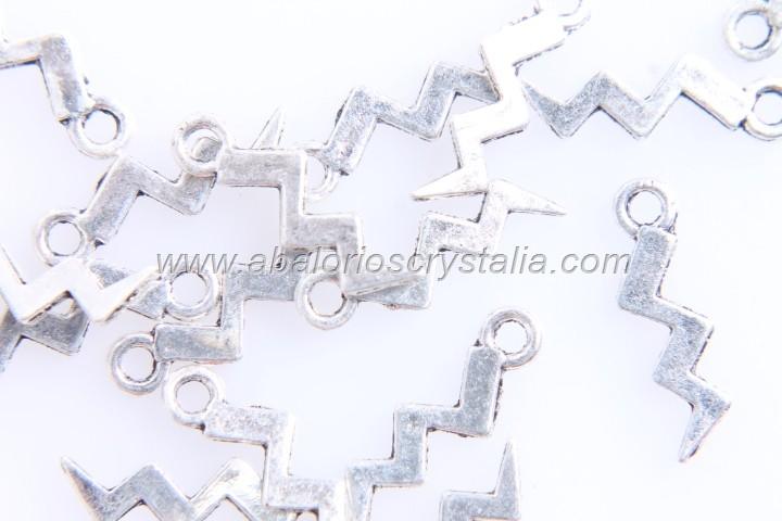 20 COLGANTES RAYO PLATA ANTIGUA 16x4.5mm