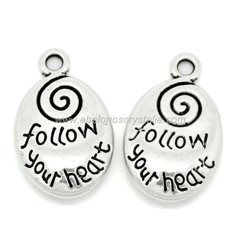 COLGANTE CHAPA PLATA ANTIGUA Follow your heart 20x12mm