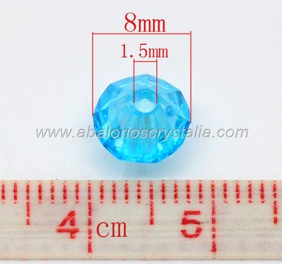 25 TUPIS BICONOS ACRÍLICOS MIX 1,  8mm