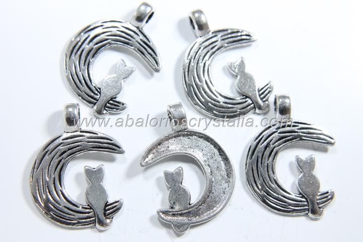 5 GATOS LUNA PLATA ANTIGUA 25x19mm