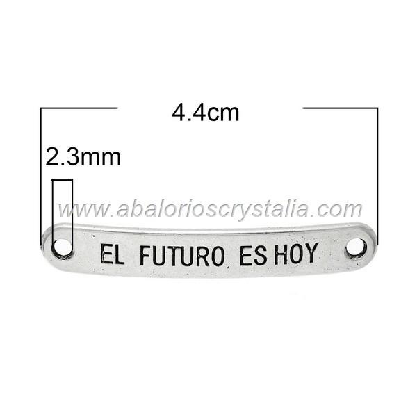 CONECTOR CHAPA El futuro es hoy PLATA ANTIGUA 4.4cm