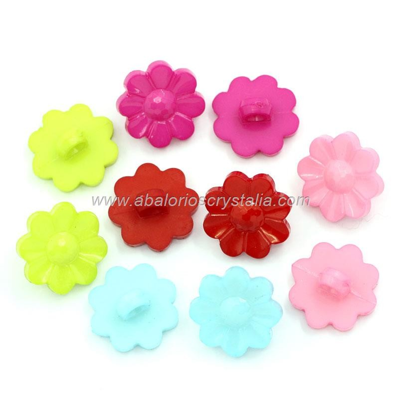MIX DE 10 BOTONES RESINA FLOR 16x16mm