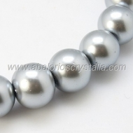 20 PERLAS DE CRISTAL COLOR GRIS PLATA 8mm