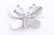 MARIPOSA DIVISIBLE Best friends  PLATA ANTIGUA 28x24mm