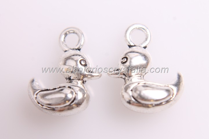 5 COLGANTES PATITO PLATA ANTIGUA 14x12mm