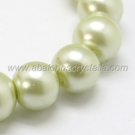 15 PERLAS DE CRISTAL COLOR VERDE PASTEL 10mm
