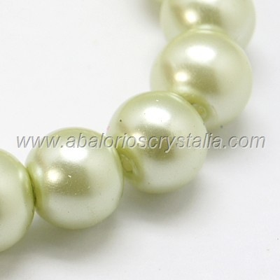 50 PERLAS DE CRISTAL COLOR VERDE PASTEL 4mm