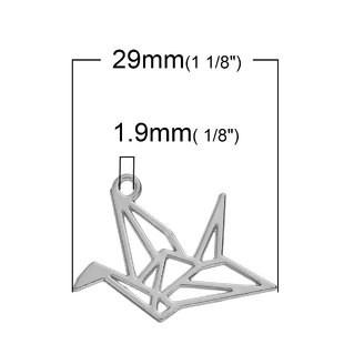 5 COLGANTES PAJARITA DE PAPEL PLATA ANTIGUA 30x22mm