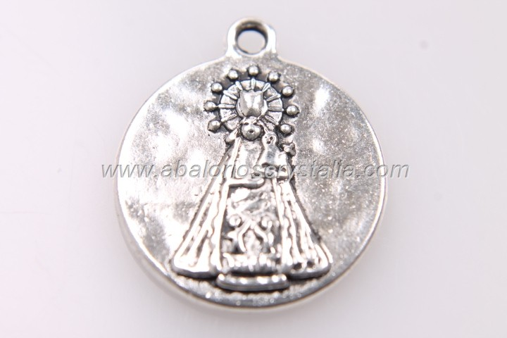 5 MEDALLAS Virgen de los desamparados dame salud PLATA ANTIGUA 22x19mm