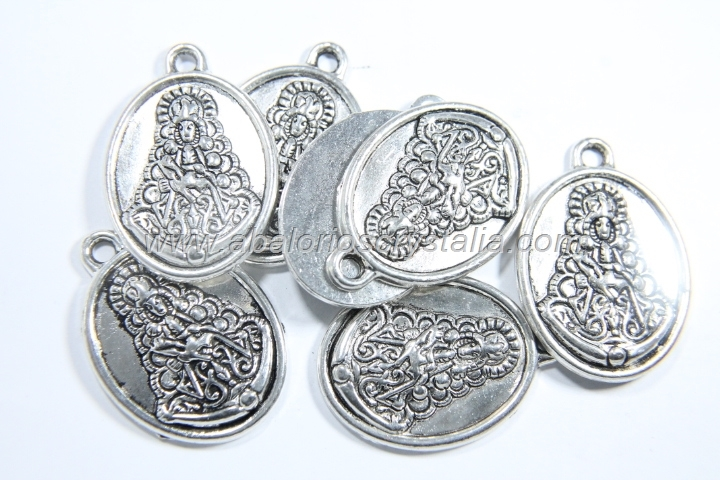 5 COLGANTES OVAL VIRGEN DEL ROCÍO PLATA ANTIGUA 31x22mm