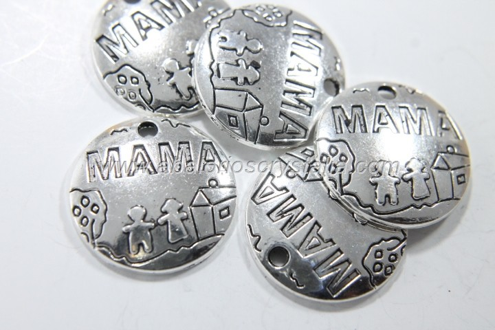 5 COLGANTES CHAPA MAMA PLATA ANTIGUA 22x22mm