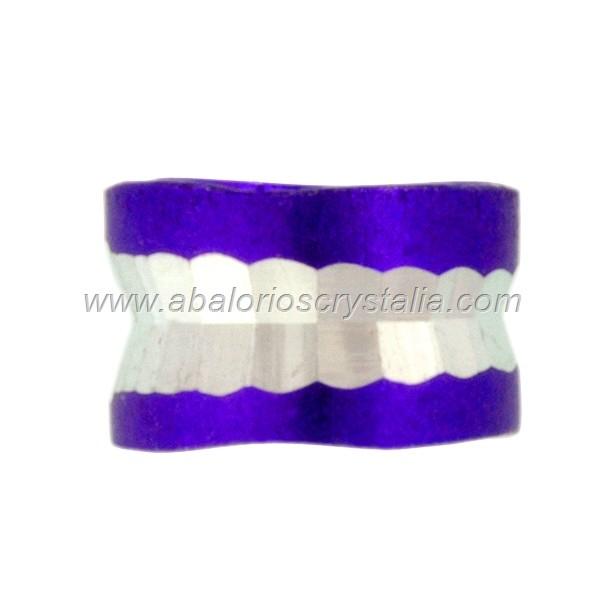10 ABALORIOS ESPACIADOR ALUMINIO MORADO 4x6 mm