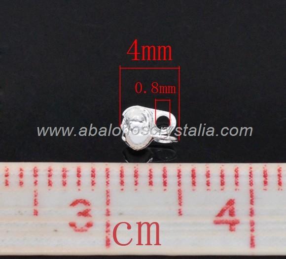 50 MINI TAPANUDOS PLATEADOS 4x2.5x2mm (apto cadena bolas 1.5mm)