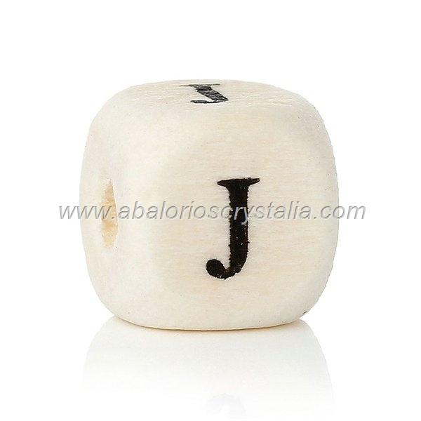10 CUBOS DE MADERA abc LETRA J COLOR NATURAL BLANCO
