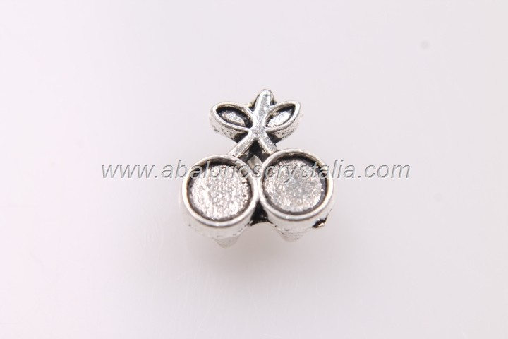 10 CEREZAS MINI PASO PLANO PLATA ANTIGUA 10x10mm