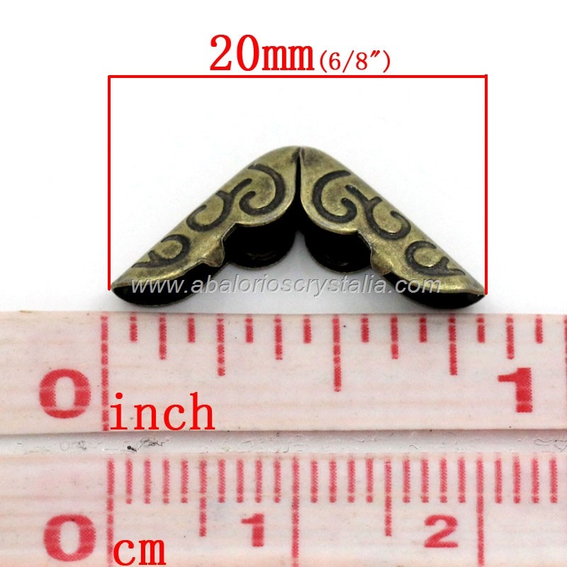 10 PROTECTORES ESQUINA METAL BRONCE 20x14x4.3mm