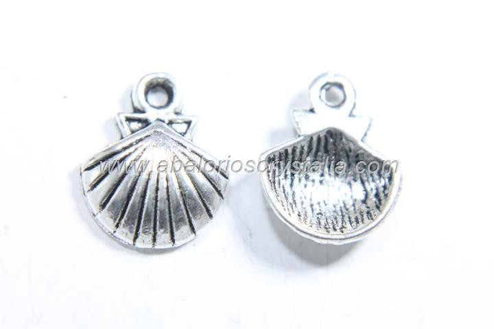 10 CONCHAS PLATA ANTIGUA 14x12mm