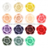 LOTE CABUCHONES FLOR RESINA BASE PLANA 9x9x3.5mm 14 COLORES