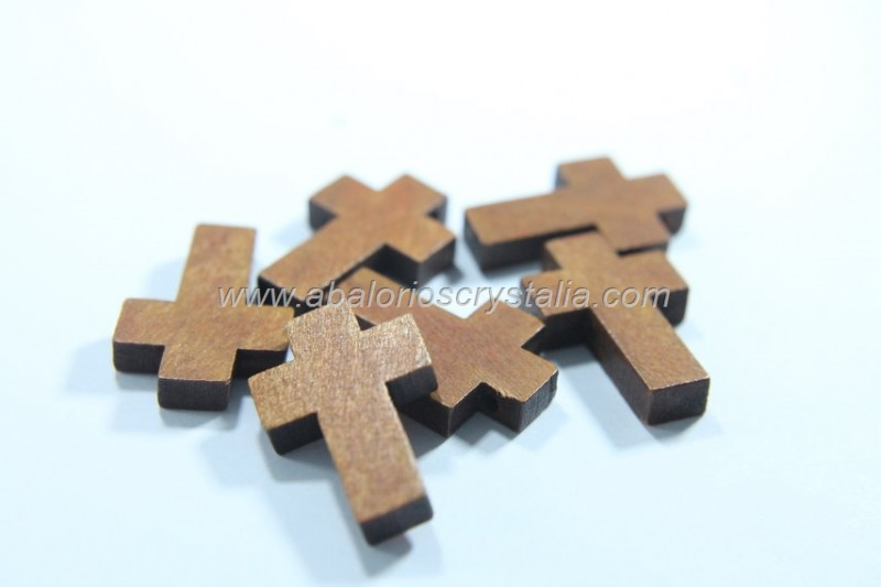 5 CRUCES DE MADERA COLOR CEREZO 22x14mm