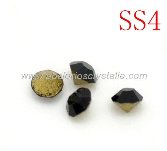 150 CHATONES DE CRISTAL COLOR NEGRO. SS4 (1.5 mm)