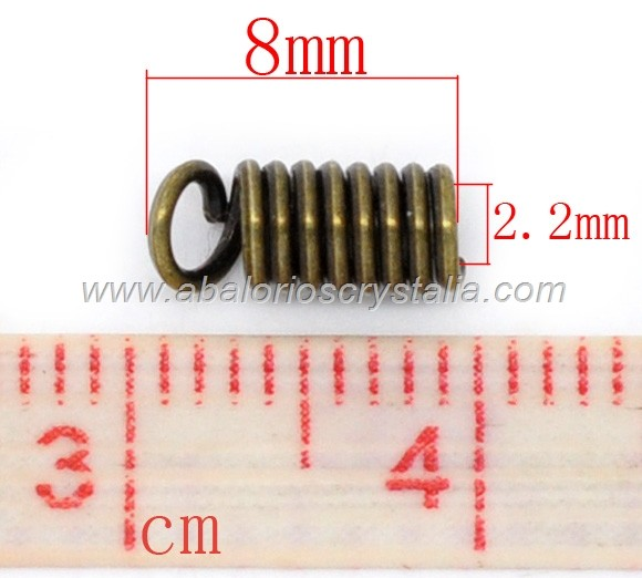 20 TERMINALES ESPIRAL BRONCE 8x4mm PARA CORDÓN DE 2mm