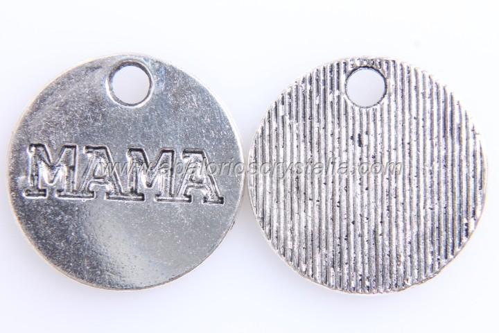 5 COLGANTES Mama PLATA ANTIGUA 20mm