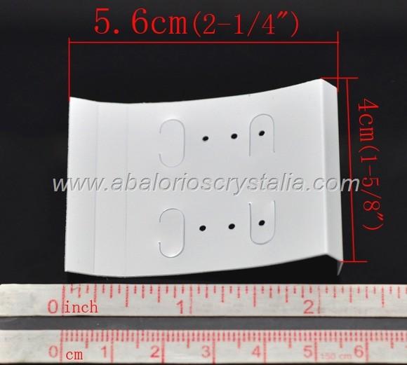 5 SOPORTES DE PLÁSTICO PARA PENDIENTES 5.6x4cm (blanco)