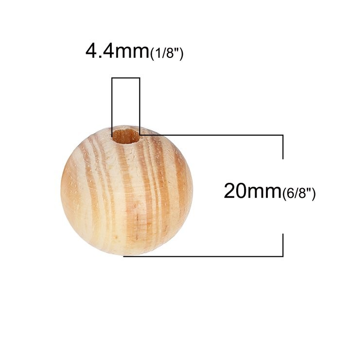 5 BOLAS DE MADERA NATURAL RAYA 20mm
