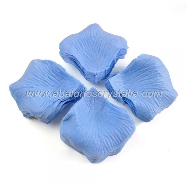 100 Pétalos de Rosa de tela 5x5cm Azul 2