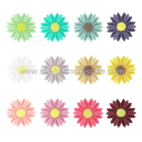 LOTE CABUCHONES MARGARITA RESINA BASE PLANA 22x22x5mm 12 COLORES