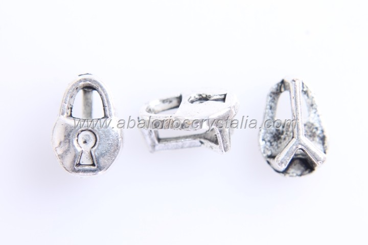 10 CANDADOS MINI PASO PLANO PLATA ANTIGUA 10x7mm