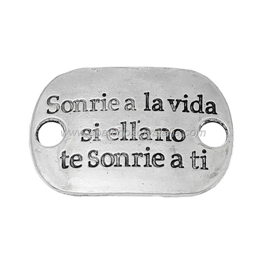 CHAPA CONECTORA PLATA ANTIGUA Sonrie a la vida... 30x20mm