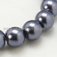 20 PERLAS DE CRISTAL COLOR GRIS OSCURO 8mm