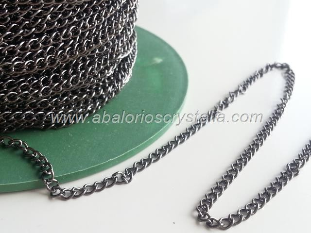 1 METRO CADENA BARBADA GRIS PLOMO 2.5x3.5x0.6mm