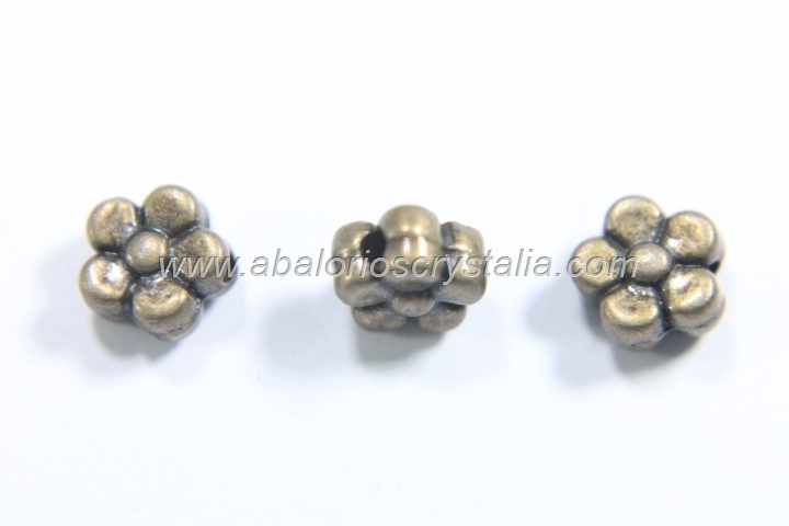 20 ABALORIOS FLOR BRONCE 6mm