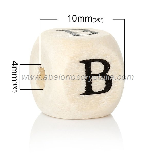 10 CUBOS DE MADERA abc LETRA B COLOR NATURAL BLANCO