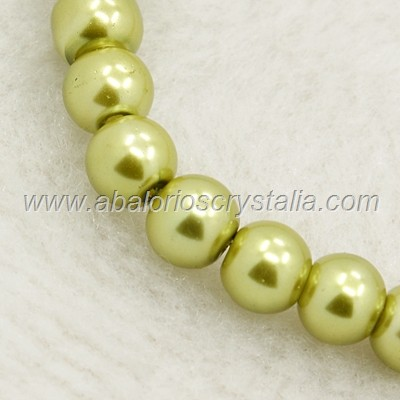 50 PERLAS DE CRISTAL COLOR VERDE CLARO 4mm
