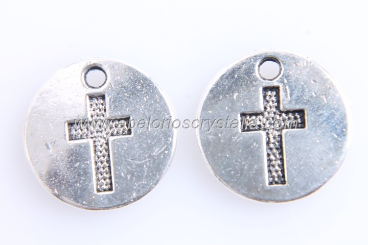 5 CHAPAS COLGANTE CRUZ PLATA ANTIGUA 15mm